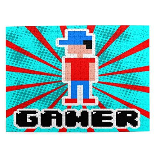 Rompecabezas con Imágenes 500 Piezas,Diseño divertido del videojuego de jugador sobre rayas azules y rojas,Educativo Juego Familiar Arte de Pared Regalo para Adultos,Adolescentes,Niños,20.4' x 15'