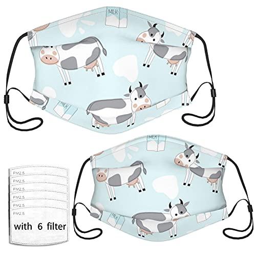 Lindo paquete de leche de vaca cumpleaños reutilizable lavable a prueba de polvo paño cara boca co-ver pasamontañas bufanda para niños y adultos