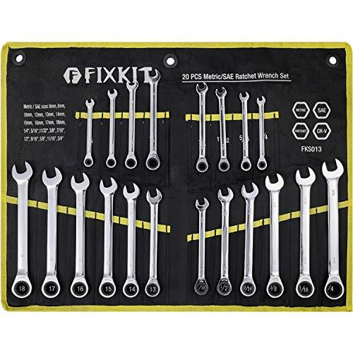FIXKIT 20-tlg. Ratschenschlüssel Ratschenringschlüssel Set, 6-18mm und 1/4''-3/4'', professionelles SAE und metrisches Standard-Kit aus CrV-Stahl inkl. tragbarer Segeltuchtasche