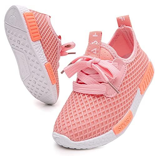 GUOCHENXY Scarpe Bambina Sportive Ginnastica BambinoTennis Senza Lacci Leggere Sneaker Casual Unisex Bambini Bianche Rosa 29EU