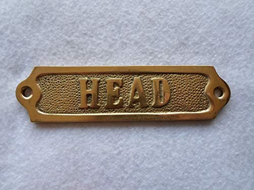 Rustic & Primitive Crafting Supplies (B) Manufactured to Look Antique Solid Brass ''Head'' Door Sign ~ Nautical Boat Bath Decor Inspiration for A Project