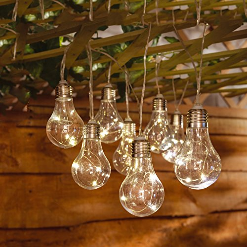 Taylor & Brown 10 x Solar Powered Warm White Led Plastic Bulb String Lights Indoor Outdoor Fairy Lights for Garden, Home, Wedding, Patio, Summer / Holiday Party