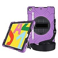 "A-BEAUTYケースiPad 10.2"" 2019第7世代、[スクリーンプロテクター] [スタイラスペン] [鉛筆ホルダー] [ハンドストラップショルダー] [ダストプラグ] [360°回転ディスク]、紫の"