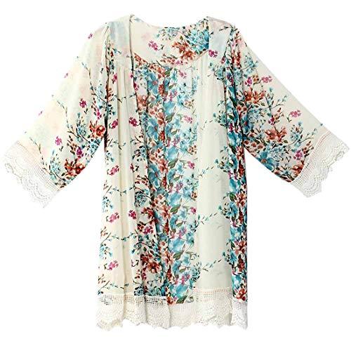 Top de Moda para Mujer Mangas de Tres Cuartos Cárdigan Kimono Floral Suelto Tops Blusa Suelta Informal Chal Boho Beach Cover up Chaqueta de Playa Ligera Camisa de Gasa de Moda de Verano para Damas