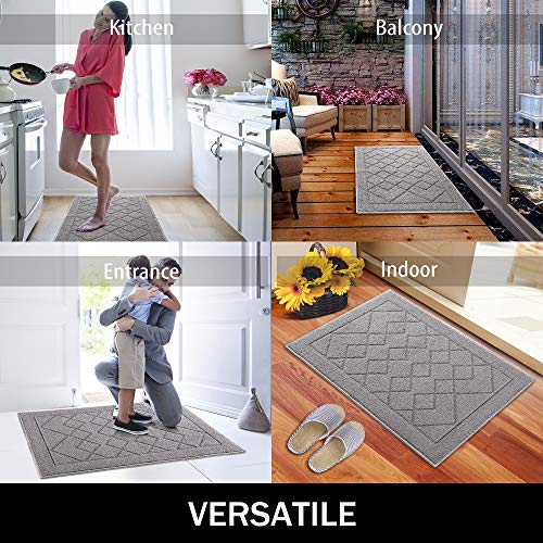 Indoor Doormat Absorbent Front Door Mat Rubber Backing Non Slip Door Mats Inside Dirt Trapper Mats Entrance Front Door Rug Shoes Mat Machine Washable Carpet - 24
