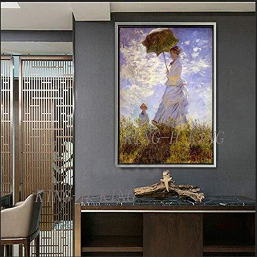 mmzki Günstige Malerei & Kalligraphie Die Promenade Frau mit einem Sonnenschirm vonQualität gemacht Ölgemälde Leinwand Wandkunst Geschenk Home Decor-70x100CM_KING2