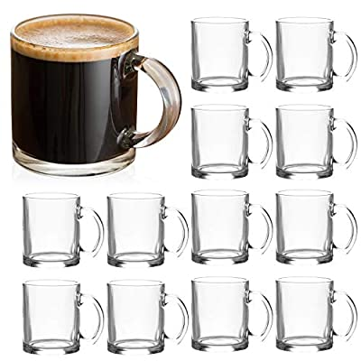 Glass Mugs 12 oz,QAPPDA Clear Coffee Mugs With Handle 350ml,Tea Mugs Water Mugs Beer Glasses With Handle,Glass Cup Drinkware For Beverage,Juice,Latte Cups Cappuccino Mugs Beer Mug Water Cups 12pack