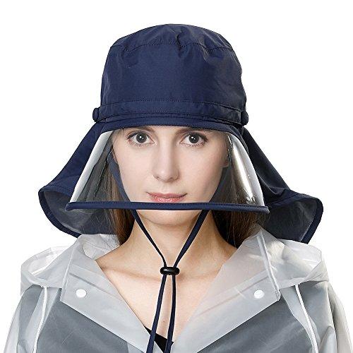 Rollbarer Regenhut Damen Wasserdicht Accessoires mit Kinnband Schwarzblau