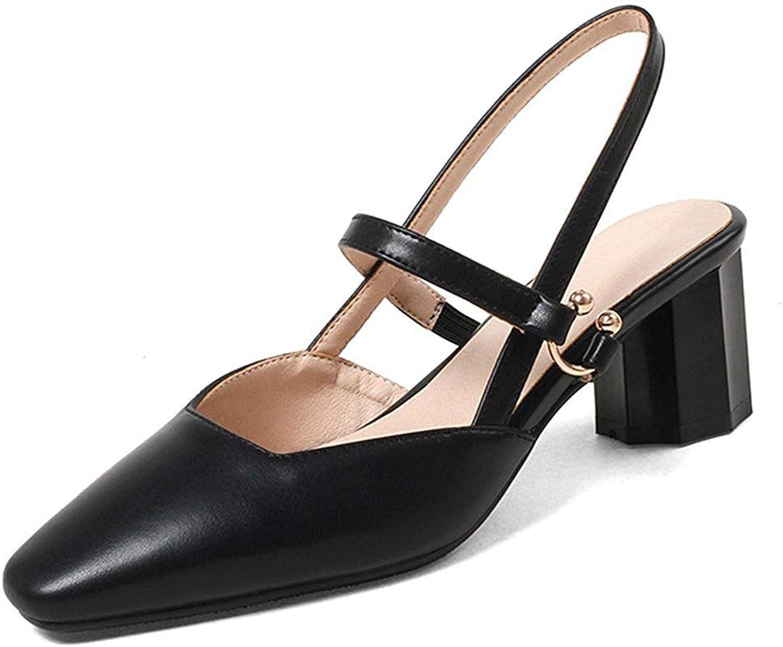 Gcanwea Women's Cute Square Toe Block Mid Heels Elastic Strap Sandals Black 6 M US