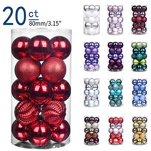 XmasExp 20ct Christmas Balls Ornaments - Shatterproof Large Hanging Ball Decorative Xmas Balls for Holiday Wedding Party Xmas Tree Decoration(3.15'/80mm, Red)