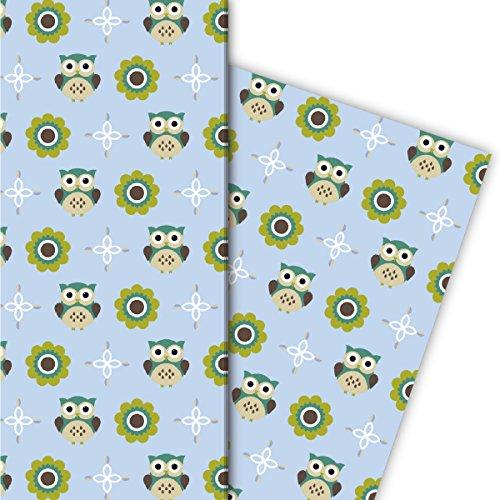 Kartenkaufrausch schattige uilen cadeaupapierset niet alleen voor kinderen/baby, lichtblauw, 4 vellen, 32 x 47,5 cm decorpapier, patroonpapier om in te pakken, designpapier, scrapbooking om te knutselen