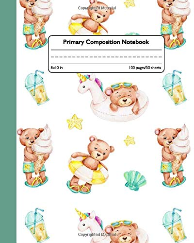 Primary Composition Notebook: Composition School Book and Drawing Diary for Grades K-2 - Handwriting Notebook with Dashed Mid-line and Story Paper Journal - Cute Summer Beach Party Bear Print