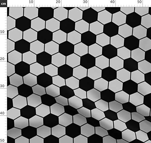 Fußball, Ball, Wabe, Schwarz, Grau, Silber Stoffe - Individuell Bedruckt von Spoonflower - Design von Threadconnections Gedruckt auf Baumwollstoff Klassik