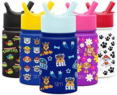 Simple Modern Kids Insulated Water Bottle Cup with Straw Stainless Steel Flask Metal Thermos for Toddlers Boys and Girls, 10oz, Paw Patrol: Chase on the Case