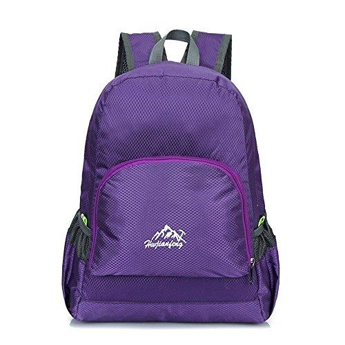 Minetom Unisex Erwachsene Rucksack Nylon Camping Wandern Reisen Trekkingrucksäcke Wanderrucksäcke Taktischer Leichtgewichtler Violett One Size