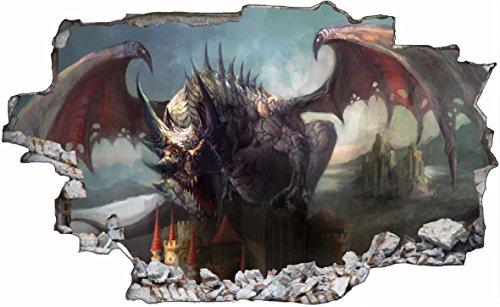 DesFoli Drache Dragon 3D Look Wandtattoo 70 x 115 cm Wanddurchbruch Wandbild Sticker Aufkleber C624