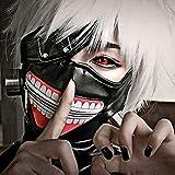Japanese Anime Tokyo Ghoul Kaneki Ken Cosplay Full Face Head Mask Novelty Costume Party PU Leather Black Festival Mask