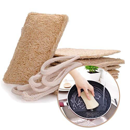Luffa Schwämme küche Bio Spülschwamm Topfreiniger Natur Organic Luffa Wash Schwamm entfernen Dead Skin Seife Multi-Funktion Umweltfreundliche und nachhaltige Lebensweise Biodegradable NATURE 6 Pack