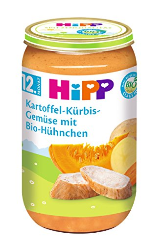 HiPP Kartoffel-Kürbis-Gemüse mit Bio-Hühnchen, 6er Pack (6 x 250 g)