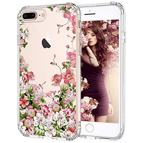 MOSNOVO Cover iPhone 8 Plus, Cover iPhone 7 Plus, Giardino Floreale Fiori Flower Trasparente con Disegni TPU Bumper con Protettiva Custodia Posteriore per iPhone 7 Plus/iPhone 8 Plus (Floral Garden)