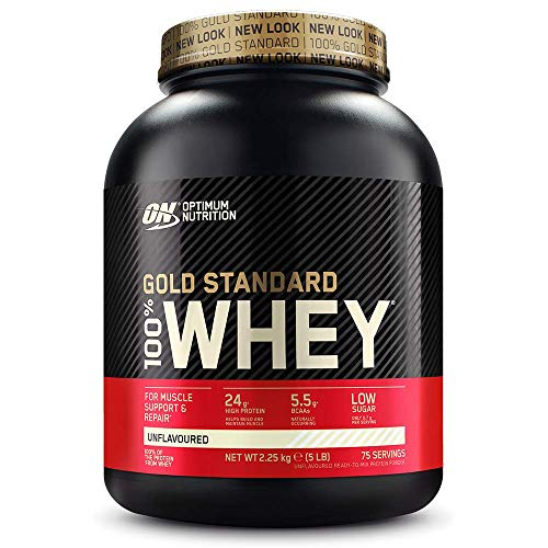 Optimum Nutrition Gold Standard Whey Muscle Building and Recovery Protein Powder With Glutamine and Amino Acids, Unflavoured, 75 Servings, 2.25 kg, Packaging May Vary