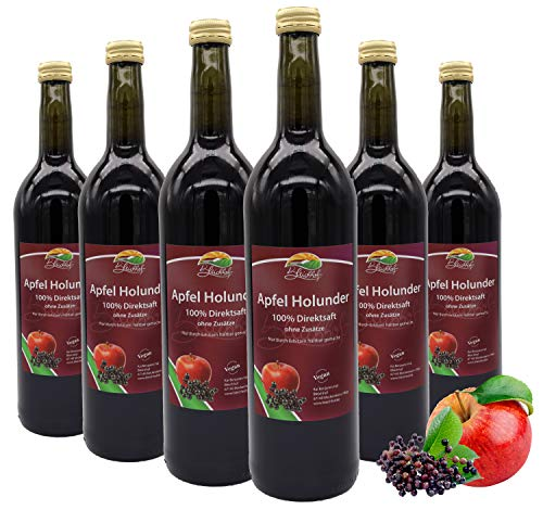 Bleichhof Apfel-Holunder Saft - 100% Direktsaft, naturrein und vegan, OHNE Zuckerzusatz, 6er Pack (6x 0,72l)