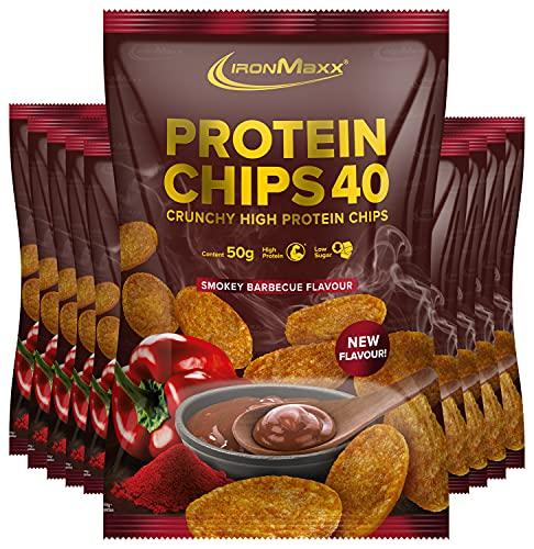 IronMaxx Protein Chips 40 - Smokey Barbecue Geschmack - High Protein - Low Carb - Glutenfrei, 10er Pack (10x 50g)