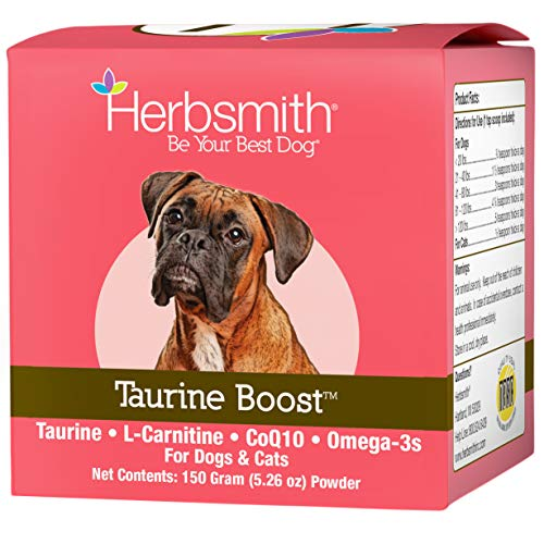 Herbsmith Taurine Boost - Cardiac and Heart Support for Dogs and Cats - Taurine Supplement for Dog and Cat Heart Health – with CoQ10, Taurine and L-Carnitine for Dogs - 150g