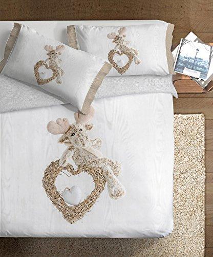 Ipersan Parure Copripiumino Matrimoniale Fotografico Piazzato Fine Art 2 Piazze Renna, 100% Cotone, Grigio, 255x240x1 cm, 3 Unità