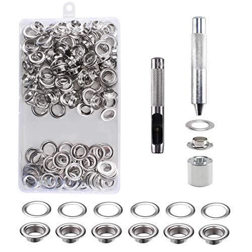 Mengger Occhiello Strumento Kit Set di Occhielli Grommet Rondelle con Strumenti di Installazione 100Pz 10mm Occhiellatrice per Teloni Borse Scarpe Abbigliamento Gommino Bottoni in metallo (argento)