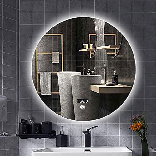 YZJJ Espejo de baño LED Redondo, Espejo de tocador con luz LED Iluminado, Espejos retroiluminados de Maquillaje Inteligente Regulables, Espejos con luz antiniebla montados en la Pared