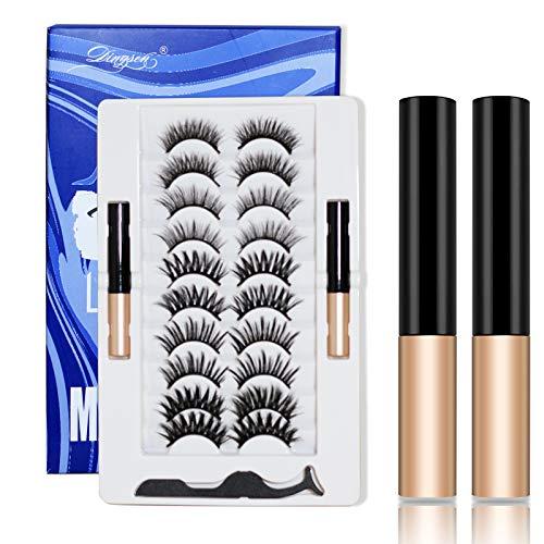 Vintoney Ciglia Finte Magnetiche Eyeliner Magnetico Impermeabile e Set Di Ciglia Finte Naturali 4D Riutilizzabili 10 paia