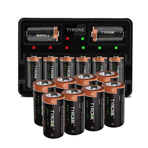 Arlo Rechargeable 123A Batteries, Tyrone 16 Pack CR123A Battery and CR123A Charger Compatible with Arlo Wireless Cameras [ More Than 700mAh 3.7V Batteries with 8-Ports Smart Charger ]