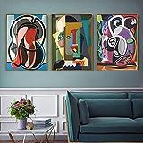 SXXRZA Lienzo de Arte 3 Piezas 50x70 cm sin Marco geometría Abstracta Carteles e Impresiones clásicos Lienzo Arte Pintura Cuadros de Pared para Sala de Estar decoración del hogar