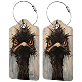 Emu oil painting PU Leather Luggage Tags Personalized Travel Name ID Labels Baggage Tag with Full Back Privacy Cover and Stainless Steel Loop