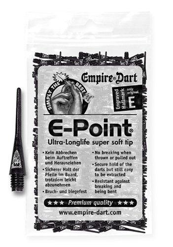 Empire Dart Softdartspitzen, E-Point, 2BA, lang, schwarz, 500 Stück, 20010