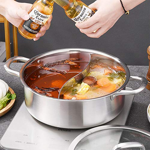 Hot Pot, En Acier Inoxydable Hot Pot Double Bas Hot Pot Simple/Double Saveur De Grande Capacité Droite Hot Pot Cooker Pot,Doublepot,26cm