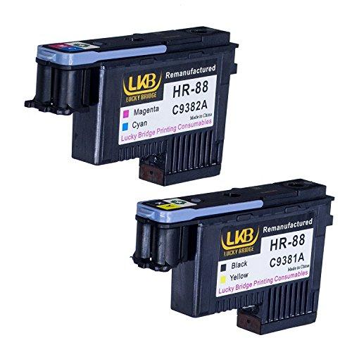 Lucky Brücke HP88Druckkopf 2Stück C9381A C9382A wiederaufbereitete kompatible für HP Officejet mit K550K5400K8600L550L580L650L7000L7400L7480L7550L7555L7580