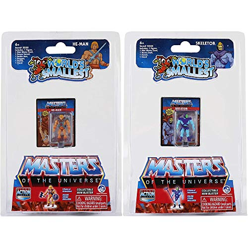 Worlds Smallest Masters of The Universe Bundle Set of 2 Mini Figures - He-Man and Skeletor