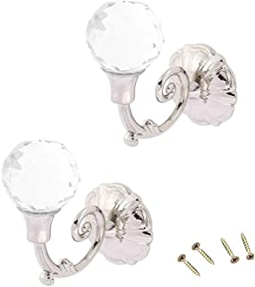 Yohii One Pair Clear Crystal Wall Decorative Tieback Hooks Hanger Multi Use Wall Hook Coat Hanger Silver Tone