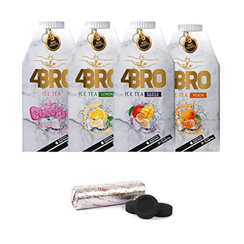 SET 4BRO Ice Tea Eistee mit Gratis Shisha Kohle (4er Mix mit Shisha Kohle gratis, 8x 1000ml)