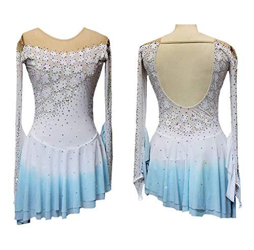 Vestido de Patinaje, Vestido de patinaje artístico para mujer, ropa de rendimiento de competición de patinaje profesional, medias de manga larga transpirables para espectáculos de danza en hielo, pe