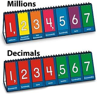 "Nasco TB25012T Place Value to Millions/Decimal Tabletop Demo Flip Chart, 8 x 23-1/2"", Grades 3-6"