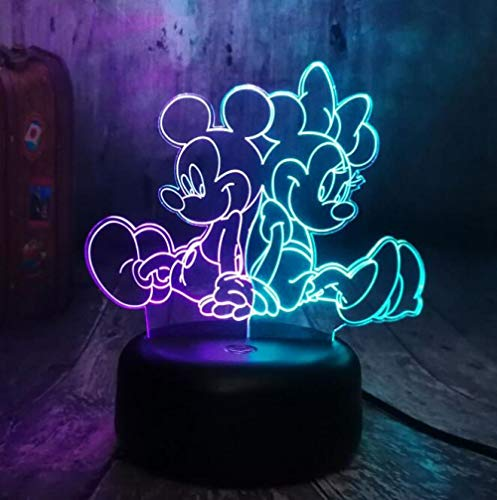 3D Nachtlicht LED Tischlampe Dekoration Cute Mickey Mouse Holding Ballon Home Raumdekoration Kinder Spielzeug Neujahr Geburtstag Weihnachtsgeschenk