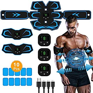 ASWF Abs Stimulator, Ab Stimulator, Recharge Abdominal Muscle Training Stimulator Gear, Intelligent Ab Muscle Toner Trainer Work Out Abs Toning Belt Fitness Equipment for Men Women