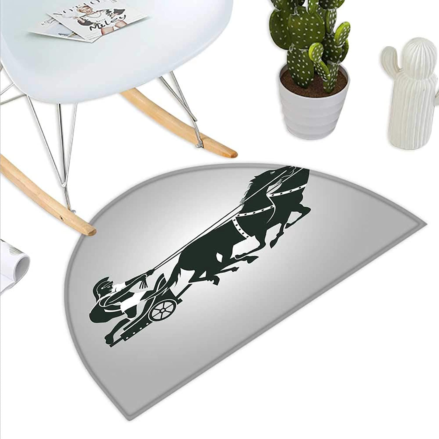 Toga Party Semicircle Doormat Mythological Chariot Gladiator with Horse Traditional Greek Culture Image Halfmoon doormats H 43.3  xD 64.9  Dimgrey Black