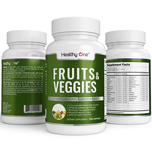 All-Natural Fruits and Veggies Supplement - 27 All-Natural Fruit and Vegetable Extracts | Get Your Daily Dose of Superfoods | 60 Capsules