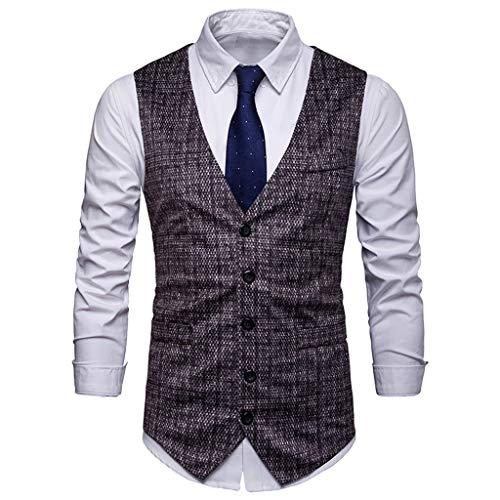 PPangUDing Weste Herren Ärmellose Anzugweste Hochzeit Mode Anzug Printed Blazer V-Ausschnitt Sakkos Business Zweireihige Slim Fit Smoking Herrenweste Herrenanzug Vest (XXL, Schwarz)