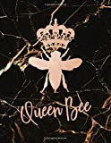 QUEEN BEE: Lined Notebook Bee, Rose Gold & Black Marble – Lined Journal Notebook Diary - Ruled Composition Notebook 8.5 x 11 Large Lined Journal Notebook to write in (Gifts for women)