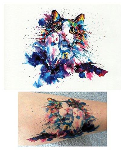 Tatuajes temporales tatoo falso –acuarela de gato
